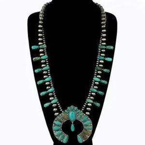 Turquoise Natural Stone Squash Blossom Necklace